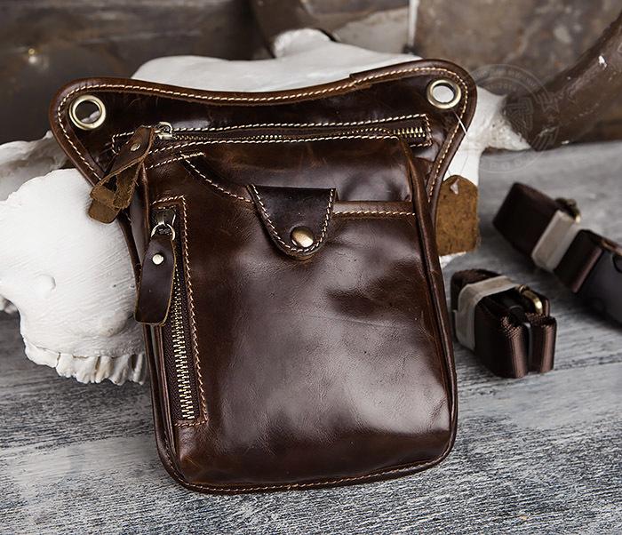 BAG436-2 Крутая набедренная сумка из натуральной кожи фото 03