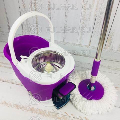 Швабра и ведро с педалью для отжима и полоскания Spin Mop 9 литров Фиолетовая