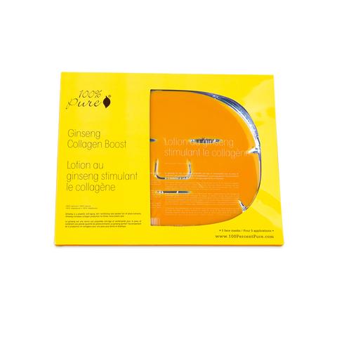 Набор восстанавливающих коллагеновых масок: Женьшень (5шт) 100% Pure