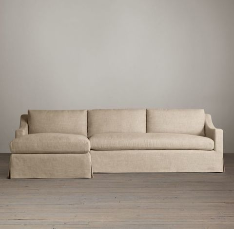 Belgian Classic Slope Arm Slipcovered Left-Arm Sofa Chaise Sectional