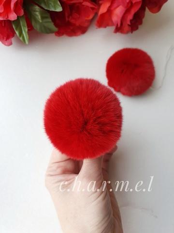 Помпоны, Кролик 5-6 см, цвет Красный, 2 шт