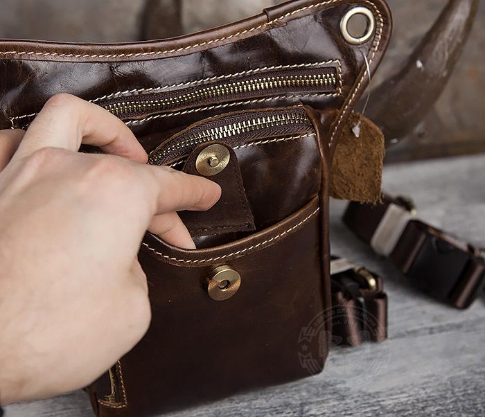 BAG436-2 Крутая набедренная сумка из натуральной кожи фото 05
