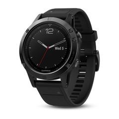 Умные мужские спортивные часы Garmin Fenix 5 Sapphire - черные с черным ремешком 010-01688-11