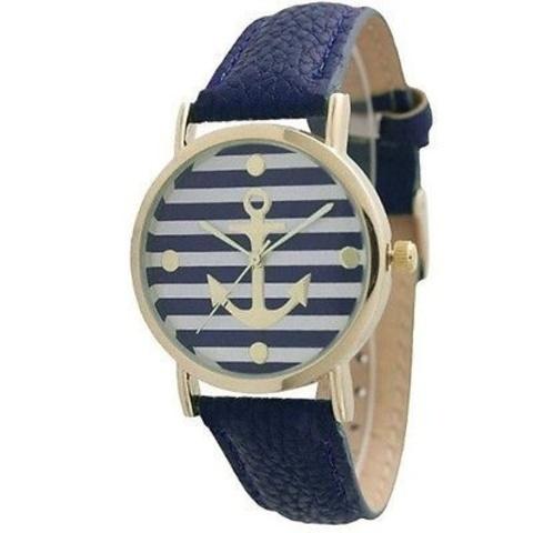 Часы женские с золотым якорем (синий)