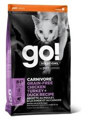 Корм беззерновой для котят и кошек, GO! Natural holistic, CARNIVORE GF Chicken, Turkey + Duck Recipe CF, 4 вида мяса: курица, индейка, утка и лосось
