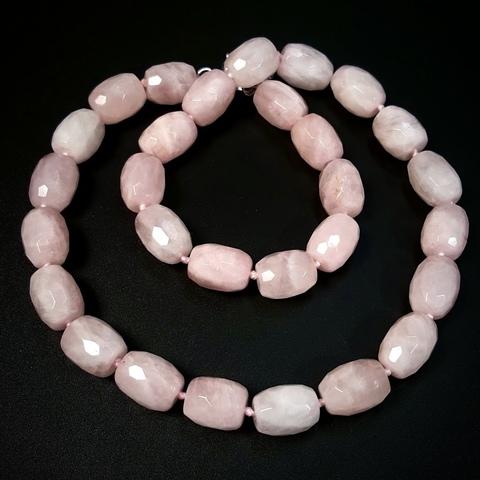 Розовый кварц Мадагаскар бусина граненая 15 х 11 мм 1 бусина