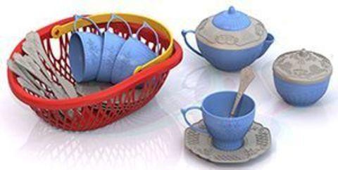 Набор посудки 24пр Чайный сервиз в лукошке Волшебная Хозяюшка/625