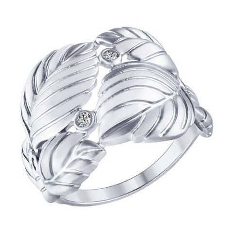 Кольцо из матированного серебра с фианитами SOKOLOV