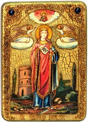 Инкрустированная икона Святая великомученица Варвара Илиопольская 29х21см на натуральном дереве в подарочной коробке