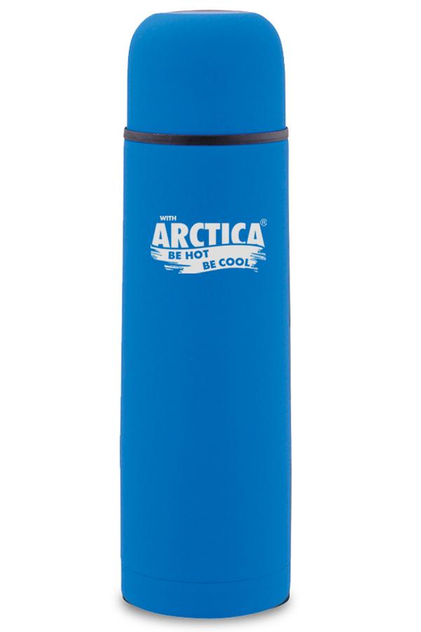 Термос Арктика (0,75 литра) с узким горлом классический, синий, резиновое покрытие