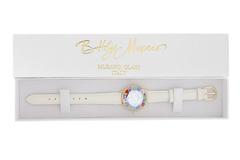 Белые женские наручные часы кожаный ремешок цветной циферблат