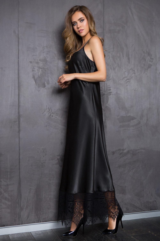 Платье  шелковистое черного цвета