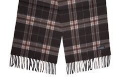 Шерстяной шарф черно-коричневый в клетку 30171