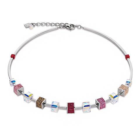 Колье Coeur de Lion 4906/10-0319 цвет мультиколор, красный, розовый, бежевый, золотой, прозрачный