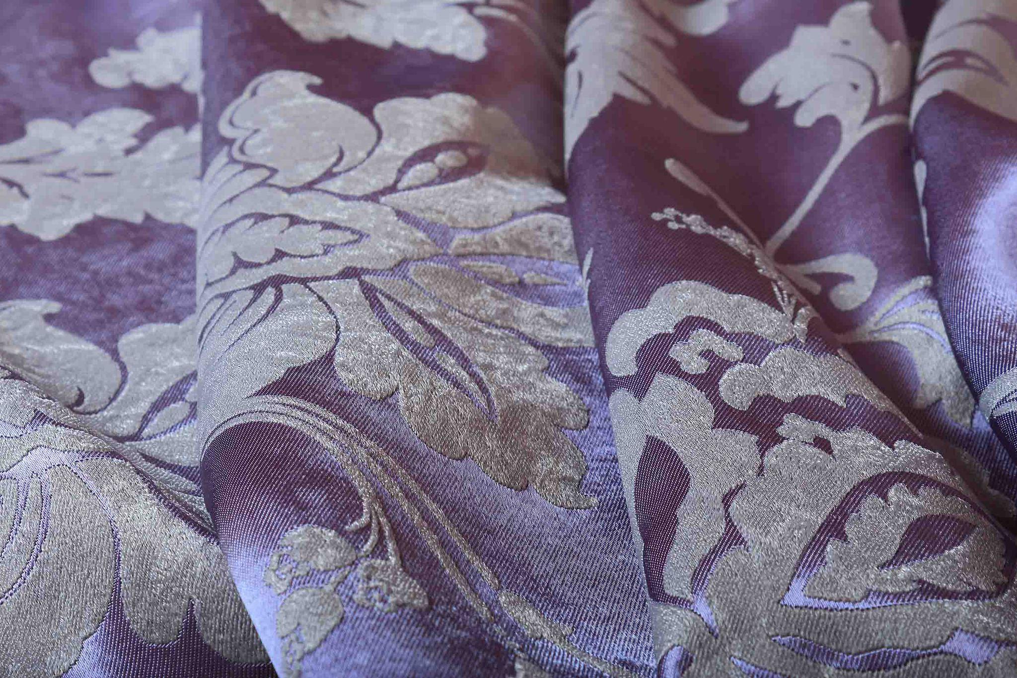 Мирабель (фиолетовый). Готовая штора блэкаут жаккард с растительным орнаментом из шенила.
