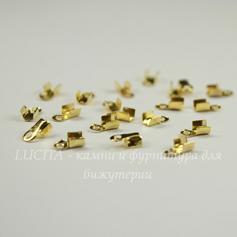 Концевик для шнура 2 мм, 6х3 мм (цвет - золото) 6х3 мм, 20 штук