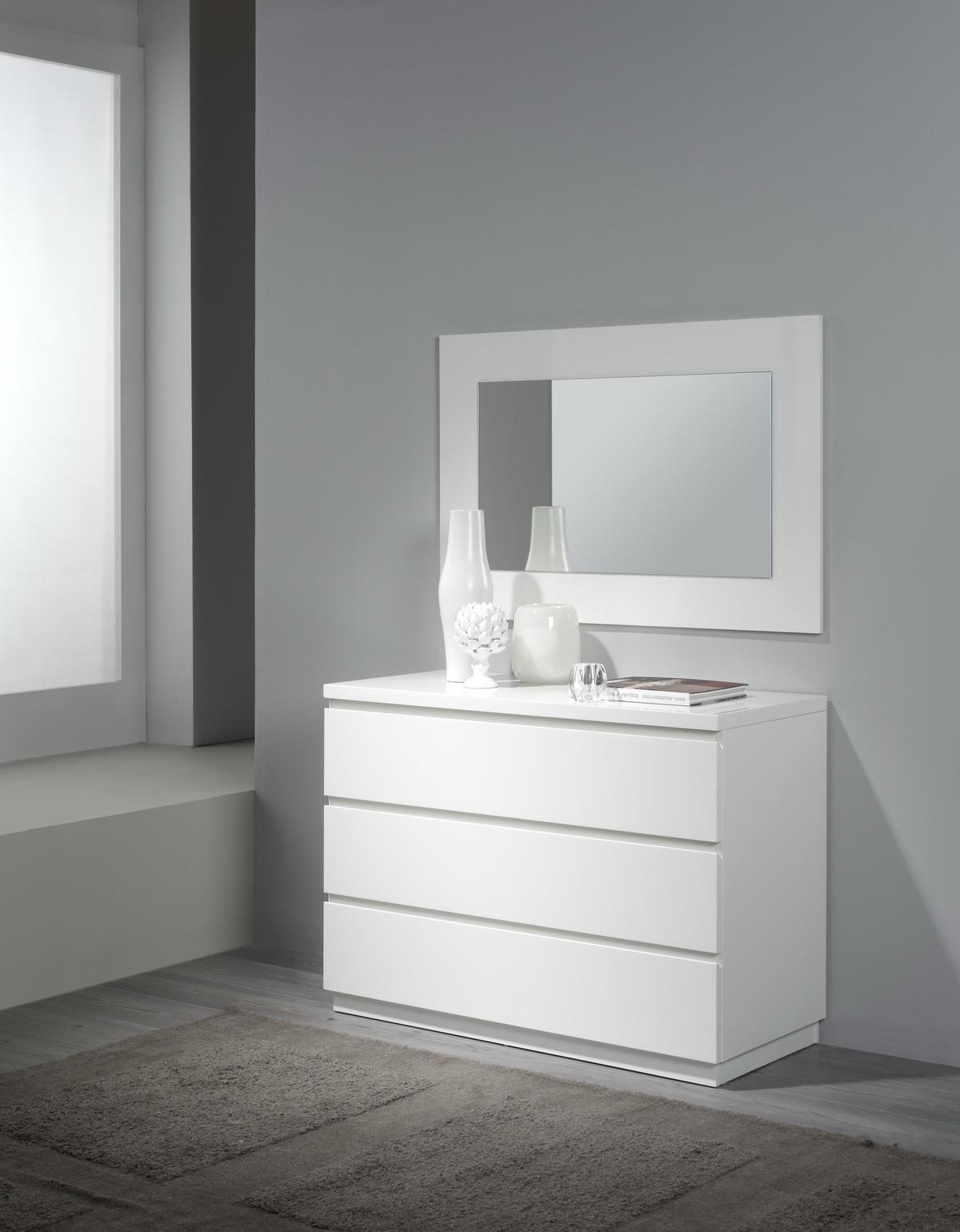 Комод горизонтальный DUPEN (Дюпен) С-111 белый, зеркало DUPEN E-96 белое