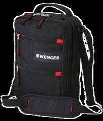 Сумка Wenger Mini Vertical Boarding Bag, для докум., черная/красная, 22x9x29 см