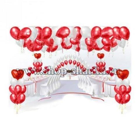 Оформление свадьбы красно-белыми шарами