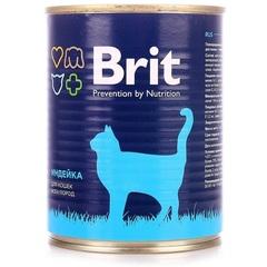 Консервы для кошек, Brit Premium, с индейкой