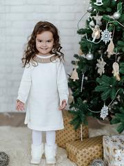 Лапушка. Платье вязаное с кружевом, белый