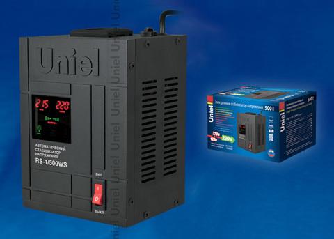 RS-1/500WS Стабилизатор напряжения «Uniel» релейный однофазный настенный, с гальванической развязкой, 500ВА
