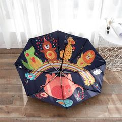 Женский облегченный зонт, с защитой от УФ, 8 спиц, оригинальный, с рисунком внутри зонта 02