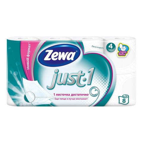 Бумага туалетная Zewa JUST1 4с бел 100%цел втул 12,3м 90л 8рул/уп 144120