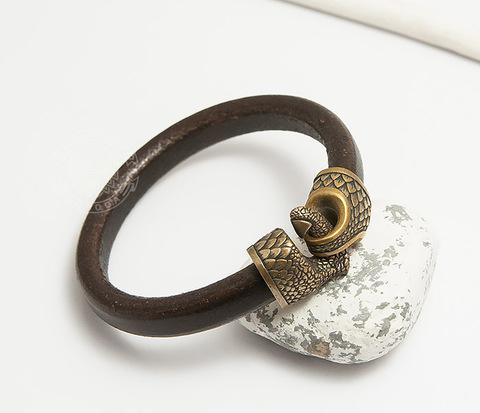 BD001-017 Мужской браслет Коготь Дракона из бронзы и кожи
