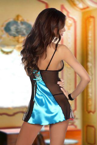 Черно-голубая сорочка Michele с кружевными вставками, в комплект идут стринги фото