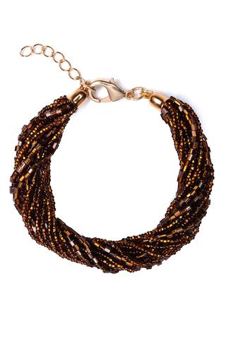 Бисерный браслет 12 нитей янтарный
