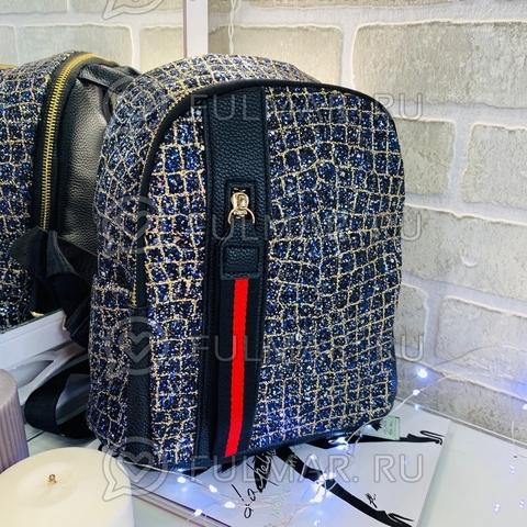 Рюкзак блестящий Синий-Золотистый с молнией LOLA маленький