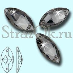 Стразы пришивные стеклянные Navette Black Diamond, Лодочка Блэк Даймонд серый на StrazOK.ru