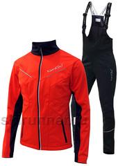 Детский утеплённый лыжный костюм Nordski Premium 2018 Red-black с высокой спинкой
