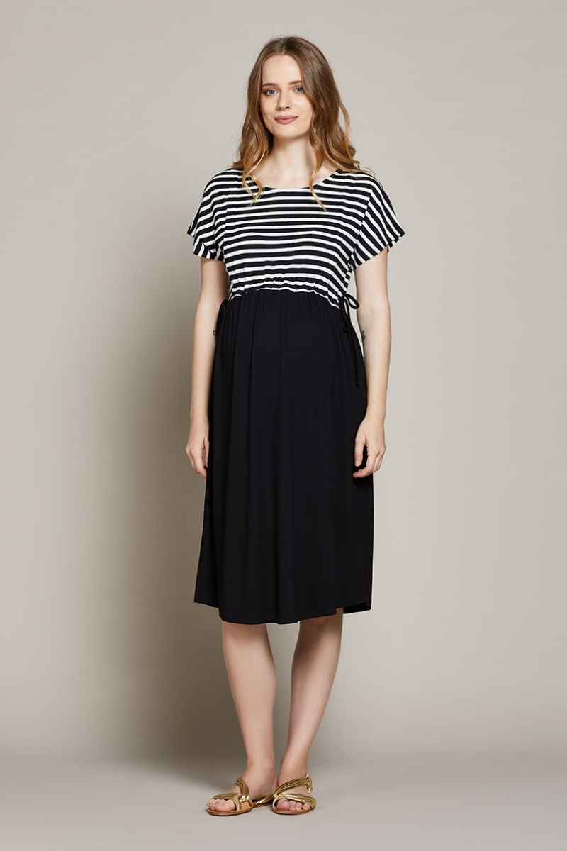 Платье для беременных и кормящих 10212 черный/белый