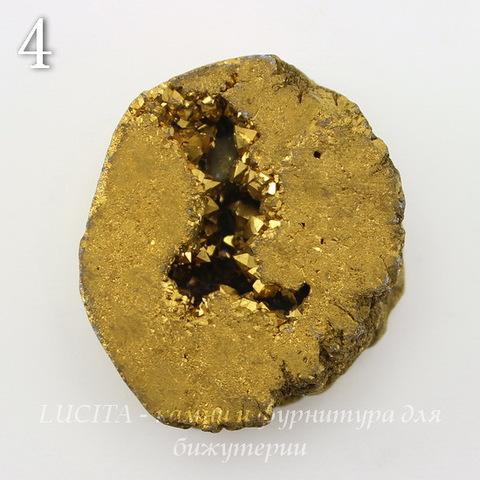 Бусина Агат с Кварцем с жеодой (тониров), цвет - золотой, 31-33 мм (№4 (31х26 мм))