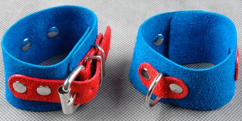 Велюровые наручники узкие не подшитые