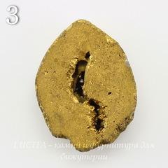 Бусина Агат с Кварцем с жеодой (тониров), цвет - золотой, 31-33 мм