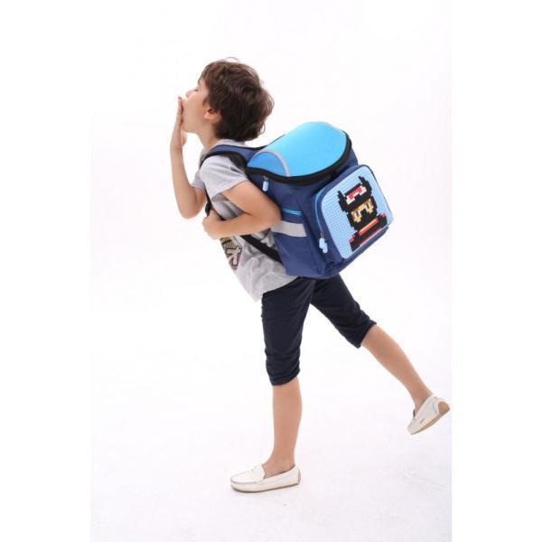 Школьный пиксельный рюкзак Super Class голубой с пиксельной мозаикой