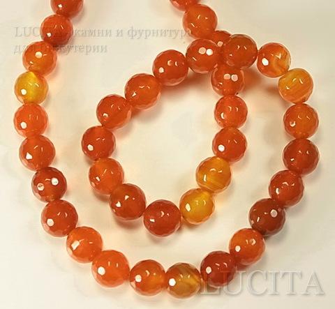 Бусина Агат (тониров), шарик с огранкой, цвет - оранжевый с желтым, 10 мм, нить ()