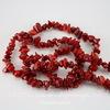 Бусина Коралл (тониров), крошка, цвет - красный, 5-12 мм, нить 83-86 см