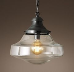 Parisian Architectural Clear Glass Brasserie Pendant
