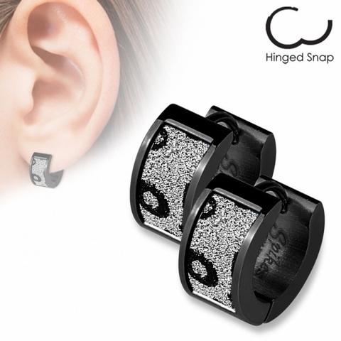 Оригинальные красивые стильные серьги кольцами женские чёрные с алмазным блеском из ювелирной стали 316L SPIKES SEZ-19