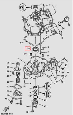 Подшипник 25×52×15 для лодочного мотора F5 Sea-PRO(4-5)