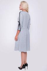 Стильное платье из мягкого трикотажа отрезное по талии. Юбка на сборке, рукав 3/4 с лентой-бант. (Длина: 44-97см; 46-98см; 48-99см; 50-100см)