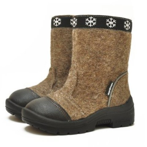 Валенки Nordman коричневые с молнией и натуральным мехом и носком из кожи