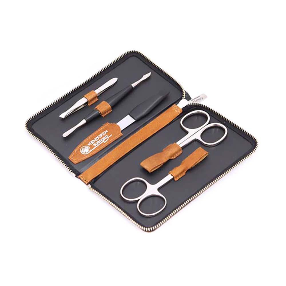 Маникюрный набор Dovo, 5 предметов, цвет коричневый, кожаный футляр