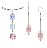 Комплект Estate Cubo с розовыми серьгами №01