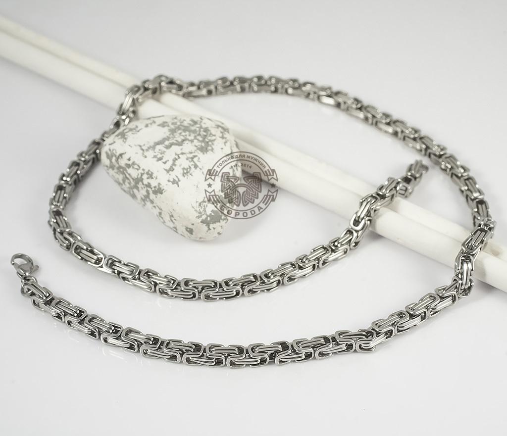 PM209 Мужская цепь из стали оригинального плетения (58 см) фото 03