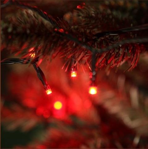 Новогодняя гирлянда на деревья нить 10 метров красная 100 led